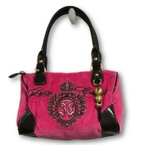 Juicy Couture Pink Crown Crest Velour Bag